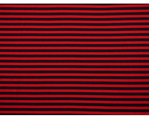 Single Jersey Stripe Fabric - Red / Navy