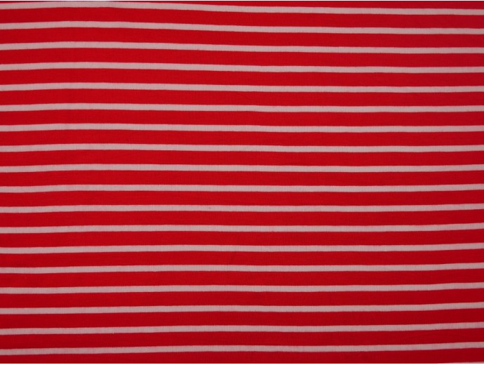 Single Jersey Stripe Fabric - Tomato / White