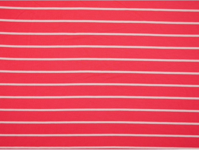 Single Jersey Stripe Fabric - Salmon / White