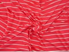 Single Jersey Stripe Fabric - Salmon / White